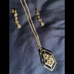 BCBG Silver Fashion NECKLACE w/matching EARRINGS